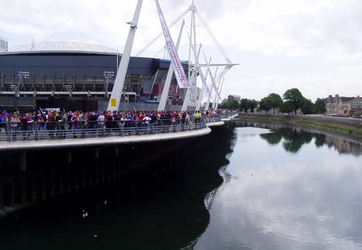 Approaching the stadium