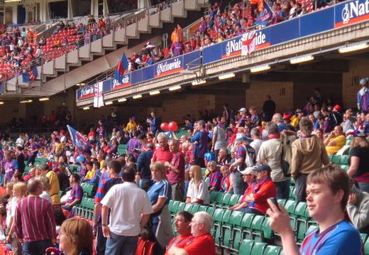 Fans nervously waiting for kick off